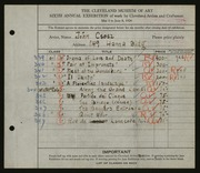 Entry card for Csosz, John for the 1924 May Show.