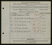 Entry card for Curtis, Mary C. Hatch for the 1924 May Show.