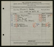 Entry card for Deike, Clara L. for the 1924 May Show.