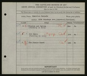 Entry card for Detlefs, Beatrice for the 1924 May Show.