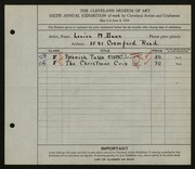 Entry card for Dunn, Louise Morrison for the 1924 May Show.