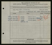 Entry card for Dyer, Nora E. for the 1924 May Show.