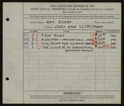 Entry card for Egert, Ray G. for the 1924 May Show.