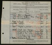 Entry card for Hahn, Marian for the 1924 May Show.