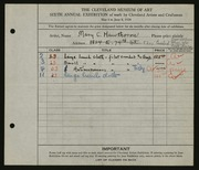 Entry card for Hawthorne, Mary C. for the 1924 May Show.
