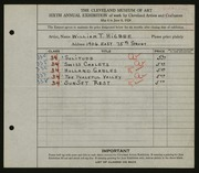 Entry card for Higbee, William T. for the 1924 May Show.