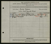 Entry card for Holden, Cora for the 1924 May Show.