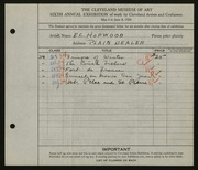 Entry card for Hopwood, E. C. for the 1924 May Show.