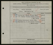 Entry card for Incorvaia, Joseph for the 1924 May Show.