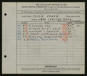Entry card for Jones, Jessie Barrows for the 1924 May Show.
