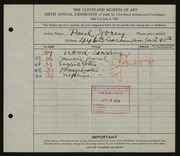 Entry card for Jorey, Paul for the 1924 May Show.