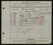 Entry card for Kalish, Max for the 1924 May Show.
