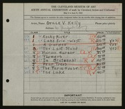 Entry card for Kelly, Grace Veronica for the 1924 May Show.
