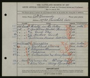 Entry card for Kennedy, Andrew D. for the 1924 May Show.