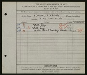 Entry card for Kressy, Edmund F. for the 1924 May Show.