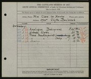 Entry card for La Marche, Clara for the 1924 May Show.