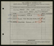 Entry card for Lee, Henry Jay for the 1924 May Show.