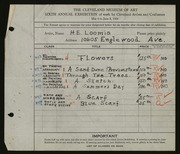 Entry card for Loomis, H. C. for the 1924 May Show.