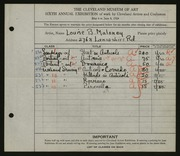 Entry card for Maloney, Louise Burdette for the 1924 May Show.