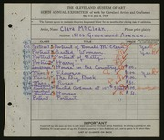 Entry card for McClean, Clara for the 1924 May Show.