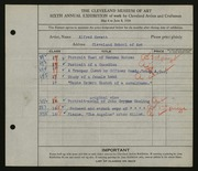 Entry card for Mewett, Alfred, and Cleveland School of Art for the 1924 May Show.