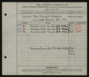 Entry card for Miles Studio, and Miles, Elizabeth B.; Miles, Eugene R.; Potter and Mellen   for the 1924 May Show.