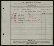 Entry card for Morron, John D. for the 1924 May Show.