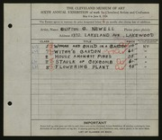 Entry card for Newell, Clifton for the 1924 May Show.
