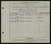 Entry card for Ogden, Clara M. for the 1924 May Show.