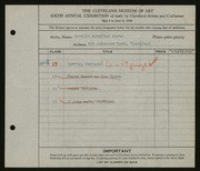 Entry card for Peets, Orville Houghton for the 1924 May Show.
