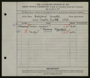 Entry card for Popovitch, Theresa, and Rainbow Hospital for Crippled and Convalescent Children for the 1924 May Show.