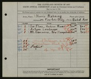 Entry card for Rahming, Norris for the 1924 May Show.