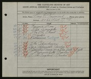 Entry card for Raymond, Mary E. for the 1924 May Show.
