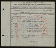 Entry card for Rebeck, Steven A. for the 1924 May Show.