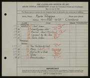Entry card for Riggins, Marie for the 1924 May Show.