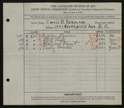 Entry card for Robinson, Carrie B. for the 1924 May Show.