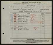 Entry card for Ruggles, E. A. (Edd Alvah) for the 1924 May Show.