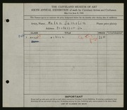 Entry card for Samolin, Helen for the 1924 May Show.