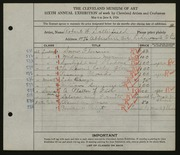 Entry card for Satterfield, Robert W. for the 1924 May Show.