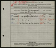 Entry card for Schweinsburg, Roland S. for the 1924 May Show.