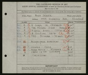 Entry card for Seaver, Hugh for the 1924 May Show.
