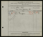 Entry card for Shaw, Glenn M. for the 1924 May Show.