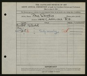 Entry card for Shively, Paul for the 1924 May Show.