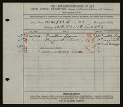 Entry card for Sinz, Walter A. for the 1924 May Show.