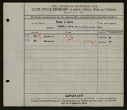 Entry card for Smith, Frank W. for the 1924 May Show.