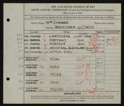 Entry card for Sommer, William for the 1924 May Show.