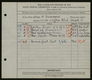 Entry card for Sommer, Elva A. for the 1924 May Show.