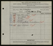 Entry card for Stephan, John F. for the 1924 May Show.