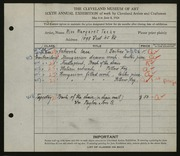 Entry card for Techy, Margaret for the 1924 May Show.