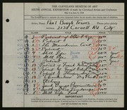 Entry card for Travis, Paul Bough for the 1924 May Show.